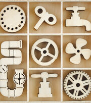 Kaisercraft Factory 42 40 pk Mini Themed Wooden Flourishes-Mechanisms, , hi-res
