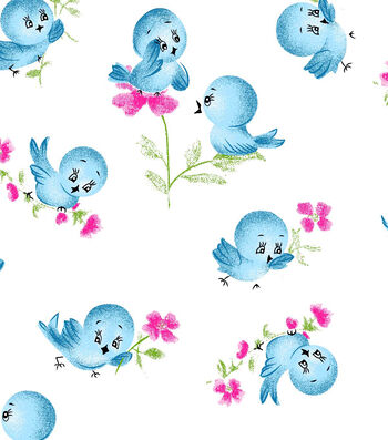Snuggle Flannel Fabric 42''-Blue Birds