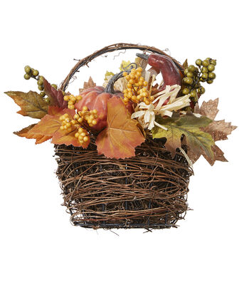Fall For All Pumpkin, Berry & Maple Leaves In Vine Basket Arrangement Orange & Yellow