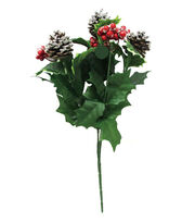 Blooming Holiday Berry, Holly Leaves & Pinecone Spray-Red with Glitter, , hi-res