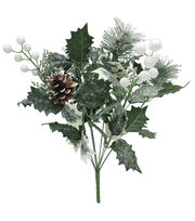 Blooming Holiday 17'' Glitter Berry & Holly Leaves Spray-Green & White, , hi-res