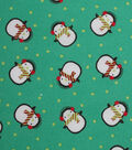 Holiday Showcase™ Christmas Cotton Fabric 43\u0027\u0027-Cold Penguins on Green