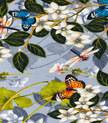 Tissue Linen Fabric-Butterfly Floral