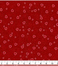 Valentine\u0027s Day Print Glitter Fabric 43\u0027\u0027-Red with Hearts & Scrolls