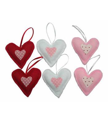 Valentine's Day 12 pk Fabric Heart Ornaments