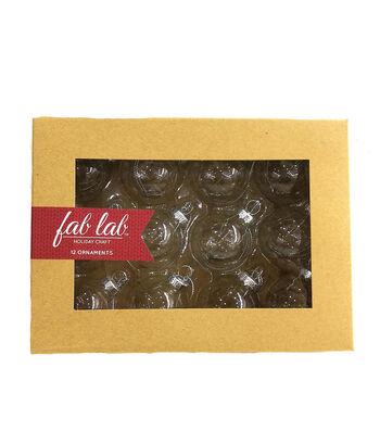 Fab Lab™ 12 pk 40 mm Glass Ball Ornaments-Clear