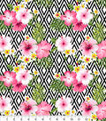 Snuggle Flannel Print Fabric 42\u0022-Tropical Flower On Geo