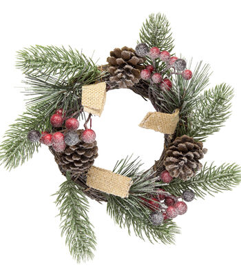 Blooming Holiday Christmas 3.25'' Pine, Pinecone & Berry Mini Wreath