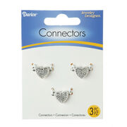 Heart Shaped Jewelry Connectors, Silver/Rhinestone, 18 x 11mm, 3pc., , hi-res