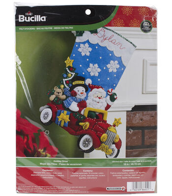 Bucilia Stocking Felt Applique Kit-Holiday Drive