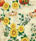 Harvest Cotton Fabric 43\u0022-Sunflower Pumpkins