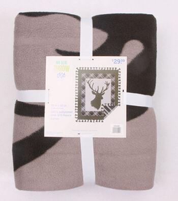 "No-Sew Throw Fleece Fabric 72""-Buck Plaid Panel"