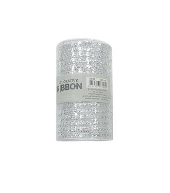 """Decorative Ribbon 5.5""""x10yd Metallic Deco Mesh-White & Silver"""