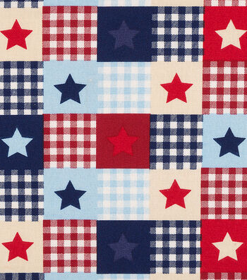 Patriotic Cotton Fabric 44''-Star Patch