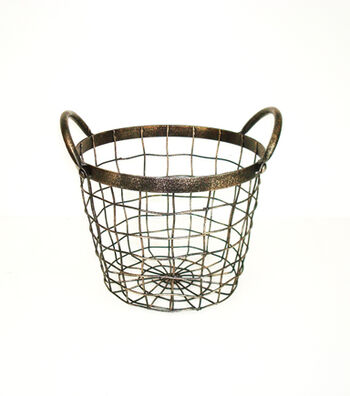 Bloom Room Small Round Metal Wire Basket With Handles