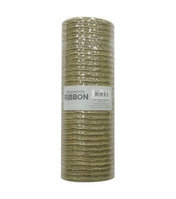 Decorative Ribbon Metallic Deco Mesh 10''x10 yds-Natural Jute