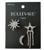 hildie & jo™ Boulevard Sunburst, Moon & Star Silver Pins, , hi-res