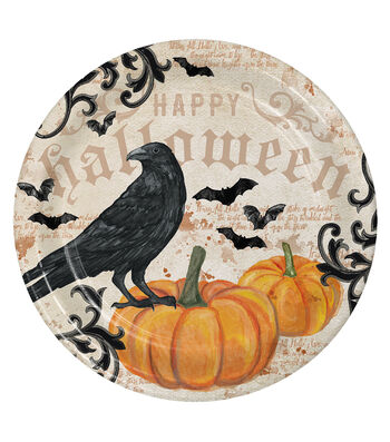 Maker's Halloween 8 Pack Paper Dinner Plates-Crow