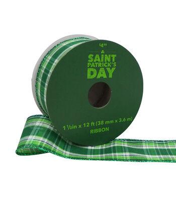 St. Patrick's Day Ribbon 1.5''x12'-Green Plaid