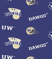 "University of Washington Huskies Fleece Fabric 58""-Allover, , hi-res"