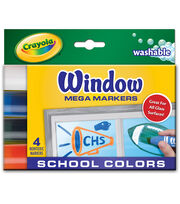 Crayola Washable Window Mega Markers-School Colors 4/Pkg, , hi-res