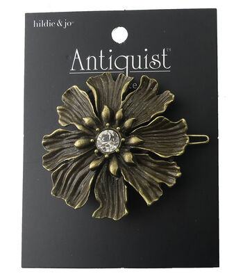 hildie & jo™ Antiquist Flower Antique Gold Barrette-Clear Crystal