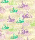 Easter Print Fabric-Stencil Bunnies Pastel
