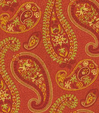 "Waverly Upholstery Fabric 54""-Caftan Paisley Cardamom"