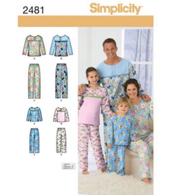 Simplicity Pattern 2481A Child & Adult Sleepwear-Size XS-L/X