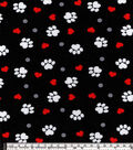 Snuggle Flannel Fabric 42\u0022-Paw Prints And Hearts On Black