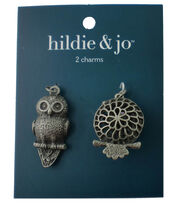 hildie & jo™ 2 Pack Owl Antique Silver Charms, , hi-res