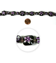 Blue Moon Strung Handpainted Glass Bead,Square & Rnd,Purple w/Wht,Floral, , hi-res