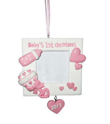 Maker's Holiday Picture Frame Ornament-Baby's First Christmas