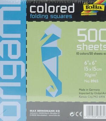 "Folia Solid Origami Paper 6""X6"" 500/Pkg-Assorted Colors"