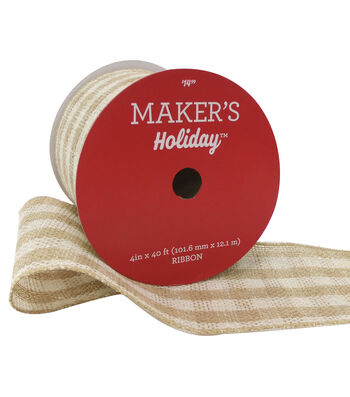 Maker's Holiday Christmas Burlap Ribbon 4''X40'-Beige & Ivory Check