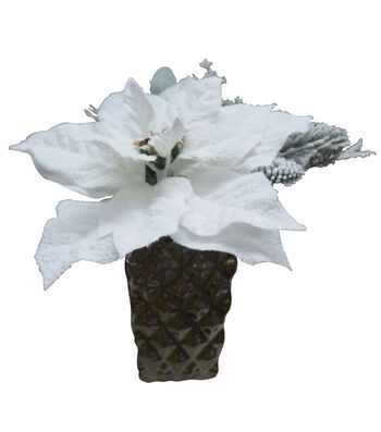 Blooming Holiday Poinsettia Pine With Snow Arrangement