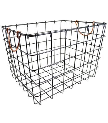 Large Laundry Storage Wire Bin with Copper Handle