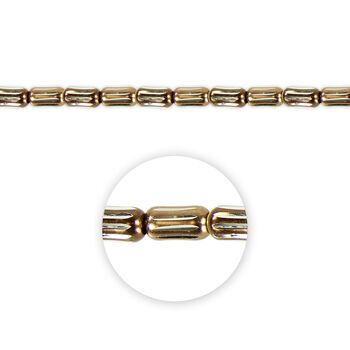 """Blue Moon Beads Strand 14""""Metal Tube, Bronze/Silver Etched"""