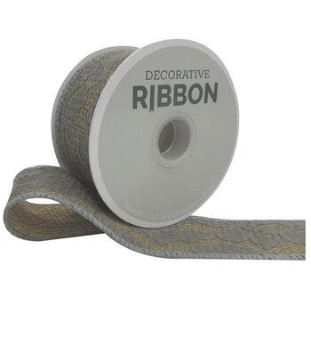 Decorative Ribbon Lace with Burlap1.5''x9'-Gray