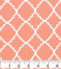 Nursery Cotton Fabric-Lilly Coral Quatrefoil