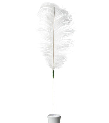 "Bloom Room 30"" Ostrich Feather Floral Stem-Off White"