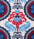 Blizzard Fleece Fabric 59\u0022-Damask Red White Navy