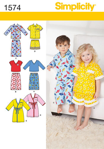 Simplicity Pattern 1574A Toddlers' Loungewear-Size 1/2-1-2-3