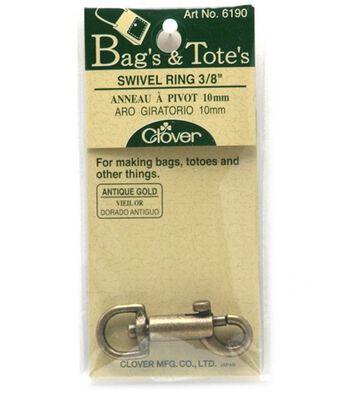 """Clover Antique Gold Swivel Ring-3/8"""" 1/Pkg"""