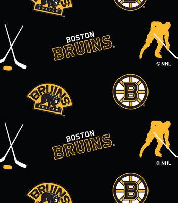 Boston Bruins Fleece Fabric 60''-Tossed