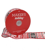 Maker's Holiday Christmas Ribbon 1.5''X25'-Red, Black & White Nordic, , hi-res