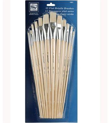 Loew-Cornell Flat Bristle Brush Set 12Pk-Long Handle