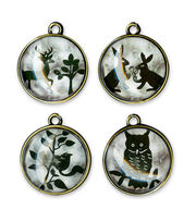 CHARM ANIMALS BUBBLE TOP BLK WHT OXBRASS, , hi-res