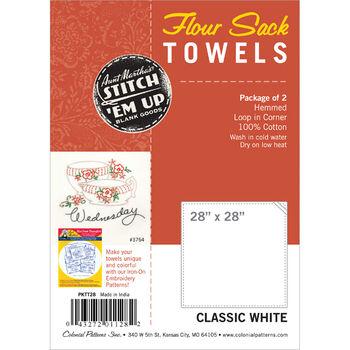 "Stitch 'Em Up Flour Sack Towels 28""X28"" 2/Pkg-White"
