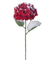Blooming Holiday Christmas 27'' Hydrangea Stem with Snow-Red & White, , hi-res